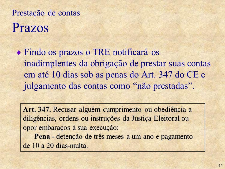 45 Findo os prazos o TRE notificará os inadimplentes da obrigação de prestar suas contas em até 10 dias sob as penas do Art. 347 do CE e julgamento da