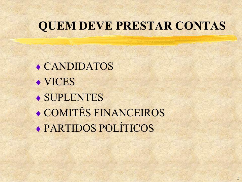 5 QUEM DEVE PRESTAR CONTAS CANDIDATOS VICES SUPLENTES COMITÊS FINANCEIROS PARTIDOS POLÍTICOS
