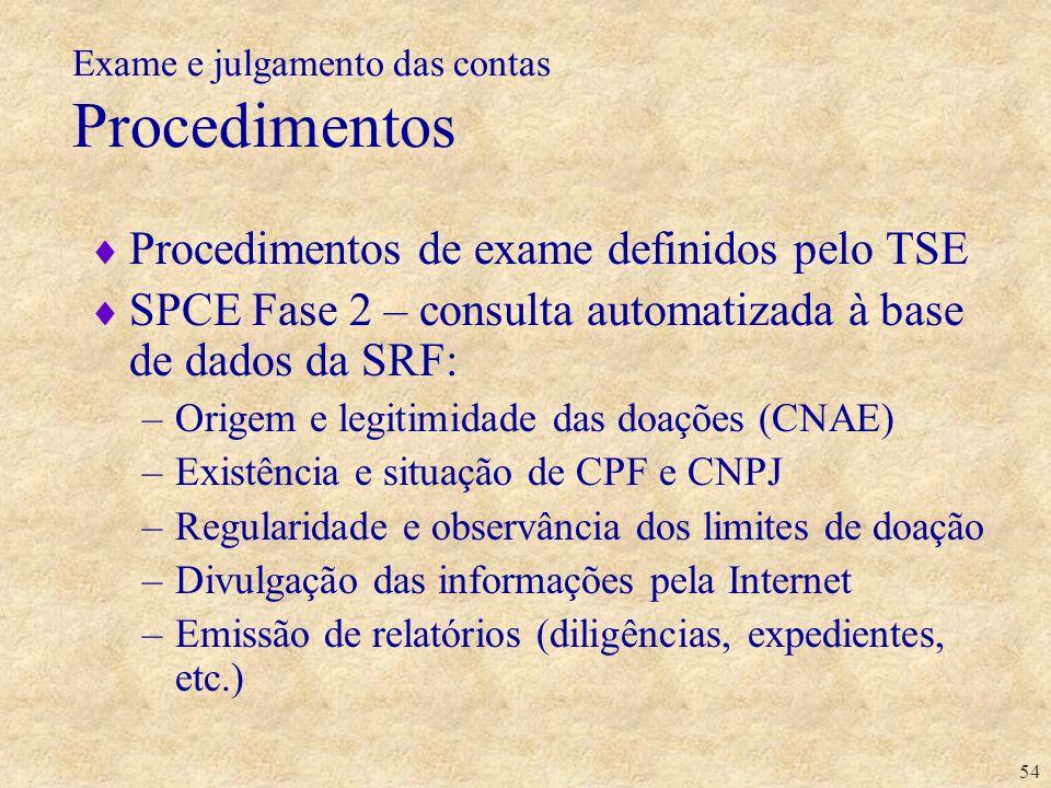 54 Exame e julgamento das contas Procedimentos Procedimentos de exame definidos pelo TSE SPCE Fase 2 – consulta automatizada à base de dados da SRF: –