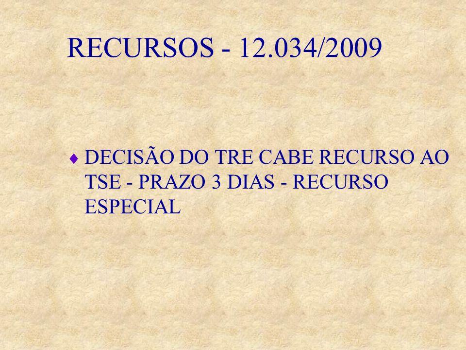 RECURSOS - 12.034/2009 DECISÃO DO TRE CABE RECURSO AO TSE - PRAZO 3 DIAS - RECURSO ESPECIAL