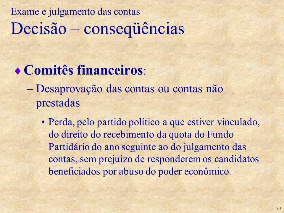 59 Comitês financeiros : –Desaprovação das contas ou contas não prestadas Perda, pelo partido político a que estiver vinculado, do direito do recebime