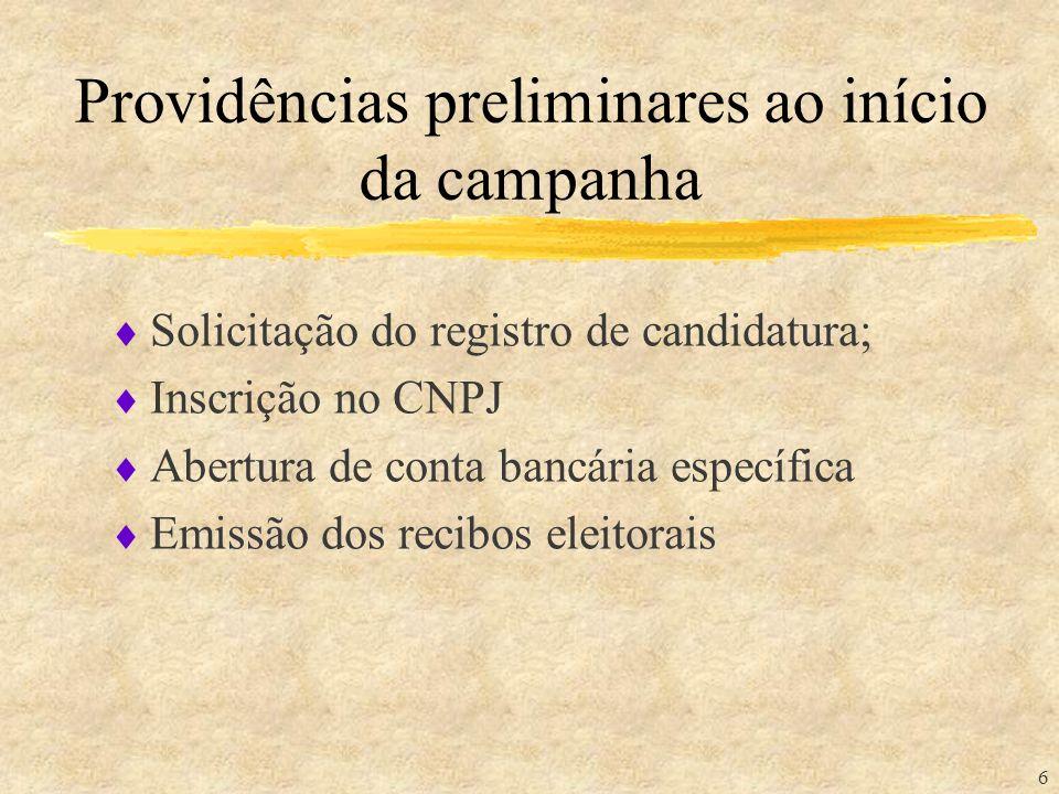 6 Providências preliminares ao início da campanha Solicitação do registro de candidatura; Inscrição no CNPJ Abertura de conta bancária específica Emis