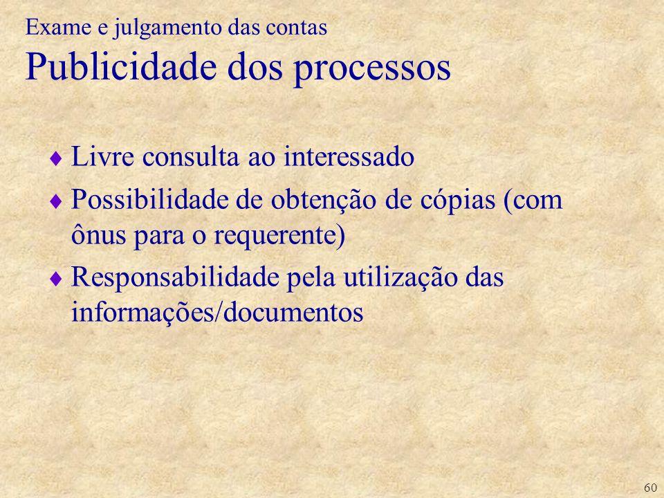 60 Livre consulta ao interessado Possibilidade de obtenção de cópias (com ônus para o requerente) Responsabilidade pela utilização das informações/doc