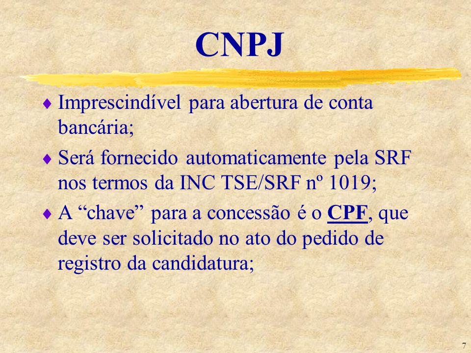 7 CNPJ Imprescindível para abertura de conta bancária; Será fornecido automaticamente pela SRF nos termos da INC TSE/SRF nº 1019; A chave para a conce