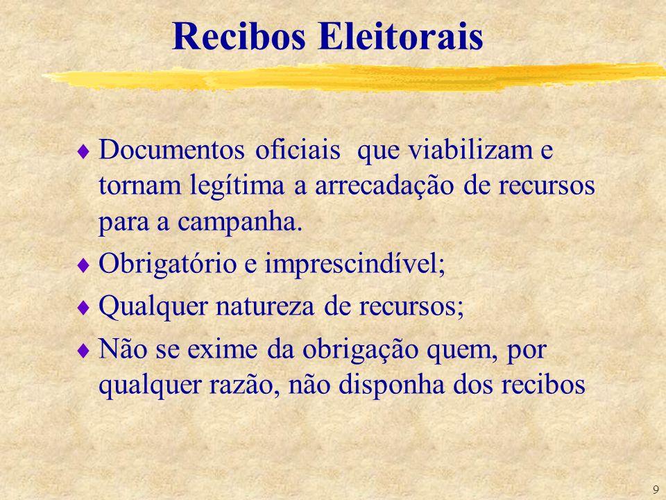 9 Recibos Eleitorais Documentos oficiais que viabilizam e tornam legítima a arrecadação de recursos para a campanha. Obrigatório e imprescindível; Qua