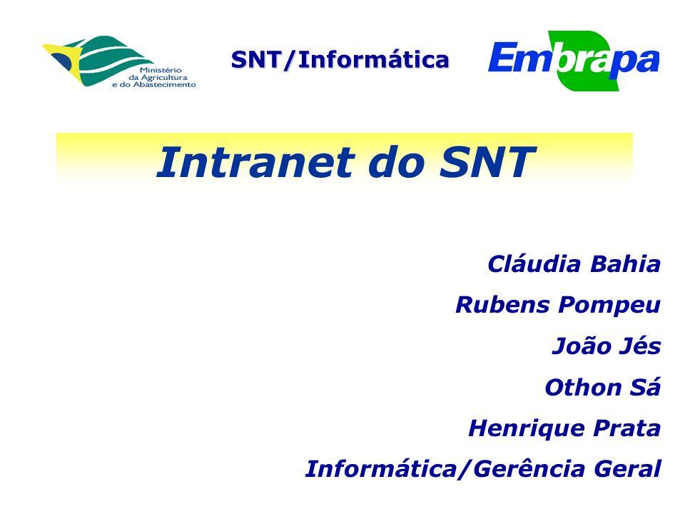 SNT/Informática Intranet do SNT Cláudia Bahia Rubens Pompeu João Jés Othon Sá Henrique Prata Informática/Gerência Geral
