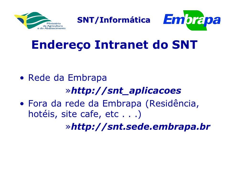 SNT/Informática Endereço Intranet do SNT Rede da Embrapa »http://snt_aplicacoes Fora da rede da Embrapa (Residência, hotéis, site cafe, etc...) »http://snt.sede.embrapa.br
