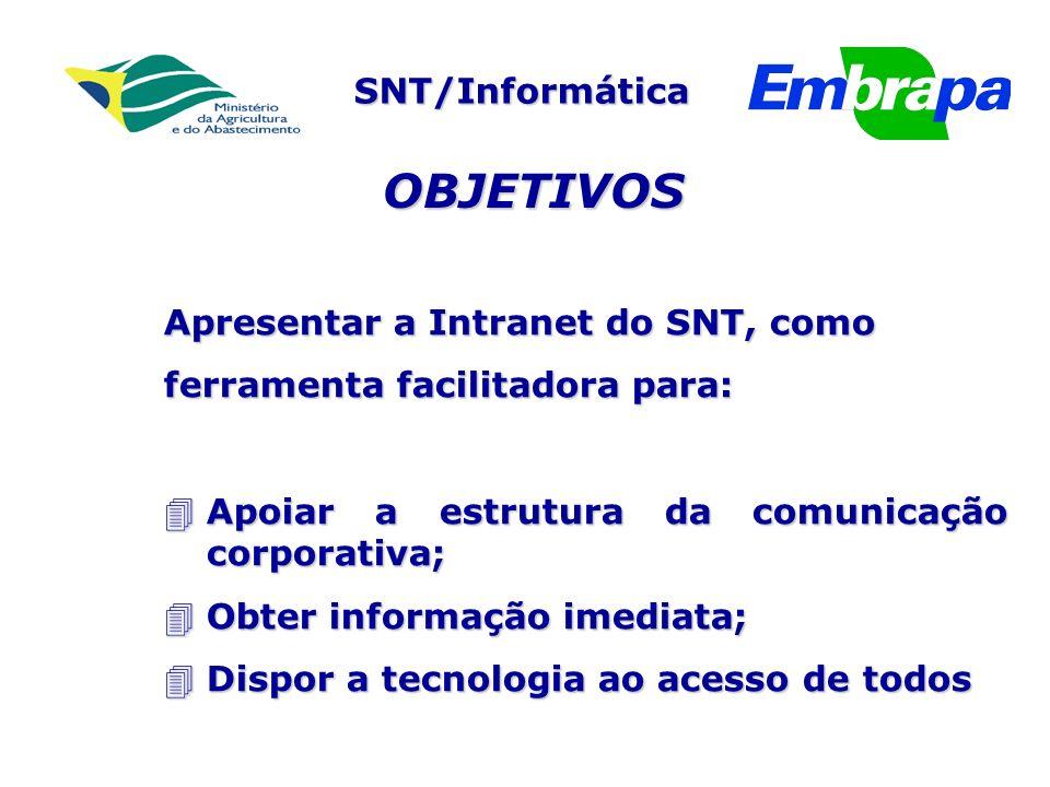 SNT/Informática Apresentar a Intranet do SNT, como ferramenta facilitadora para: 4Apoiar a estrutura da comunicação corporativa; 4Obter informação imediata; 4Dispor a tecnologia ao acesso de todos OBJETIVOS