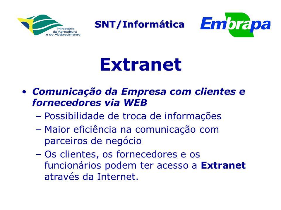 SNT/Informática Extranet Comunicação da Empresa com clientes e fornecedores via WEB – –Possibilidade de troca de informações – –Maior eficiência na comunicação com parceiros de negócio – –Os clientes, os fornecedores e os funcionários podem ter acesso a Extranet através da Internet.