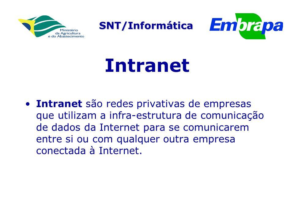 SNT/Informática Intranet Intranet são redes privativas de empresas que utilizam a infra-estrutura de comunicação de dados da Internet para se comunicarem entre si ou com qualquer outra empresa conectada à Internet.
