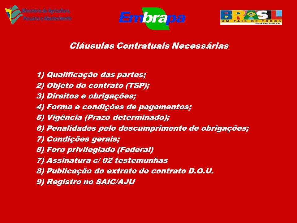 Cláusulas Contratuais Necessárias 1) Qualificação das partes; 2) Objeto do contrato (TSP); 3) Direitos e obrigações; 4) Forma e condições de pagamento