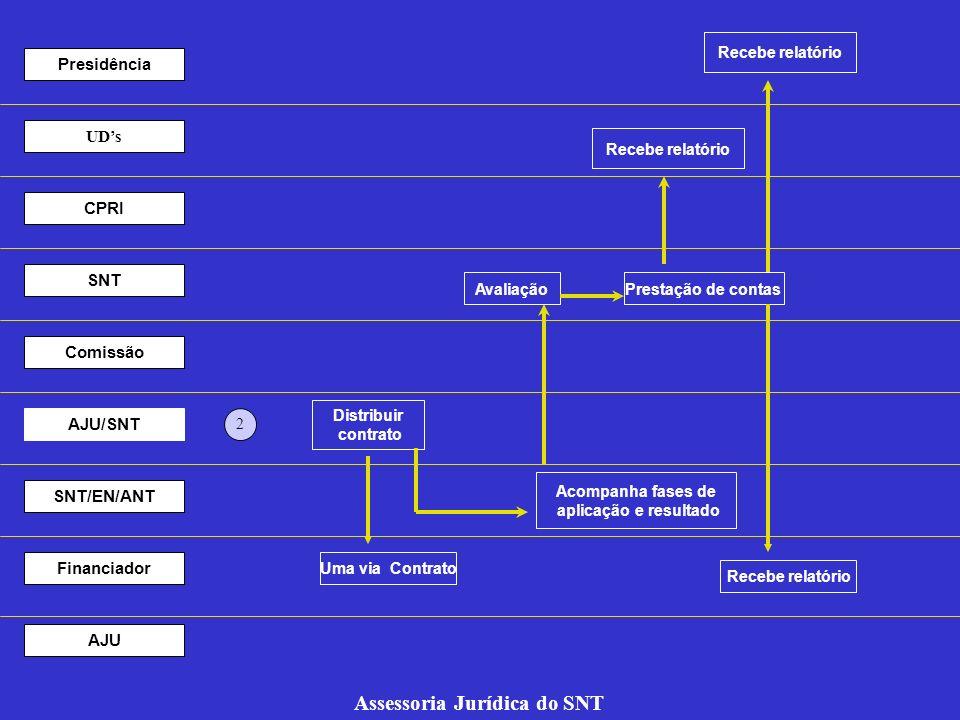 Recebe relatório Prestação de contasAvaliação Acompanha fases de aplicação e resultado 2 UDs CPRI SNT Comissão AJU/SNT SNT/EN/ANT Financiador AJU Asse