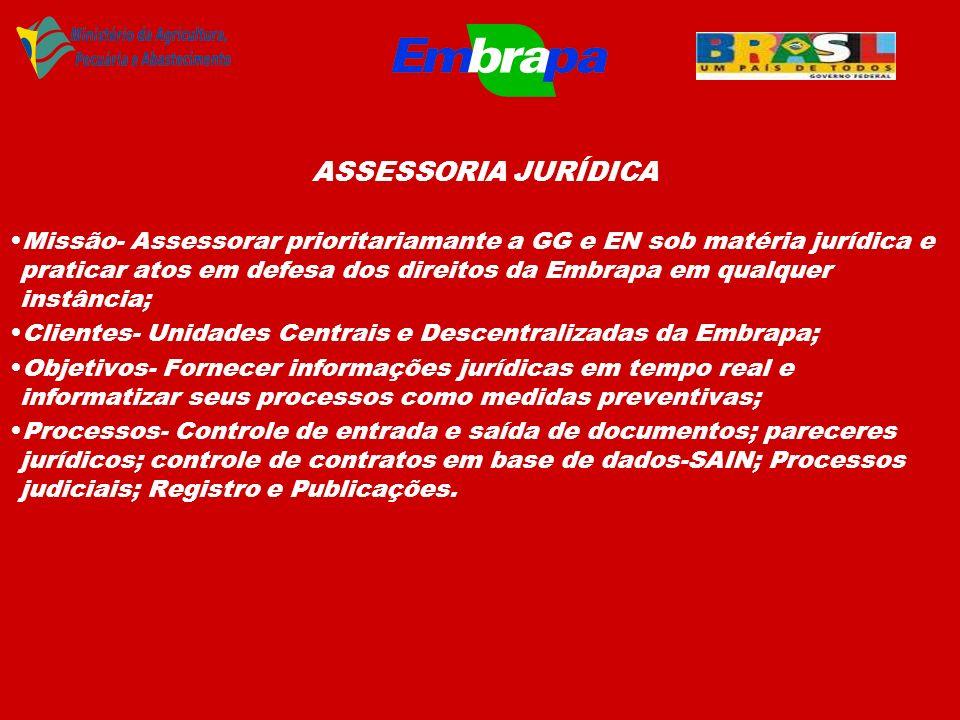 ASSESSORIA JURÍDICA Missão- Assessorar prioritariamante a GG e EN sob matéria jurídica e praticar atos em defesa dos direitos da Embrapa em qualquer i