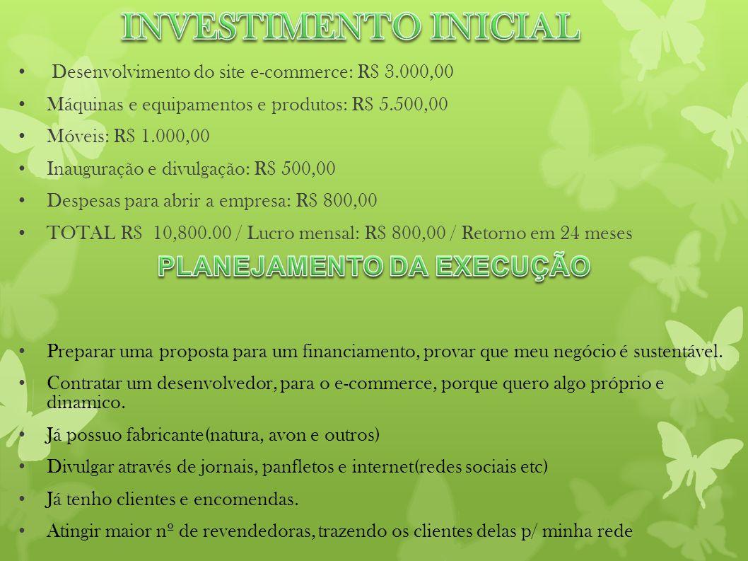 Desenvolvimento do site e-commerce: R$ 3.000,00 Máquinas e equipamentos e produtos: R$ 5.500,00 Móveis: R$ 1.000,00 Inauguração e divulgação: R$ 500,0