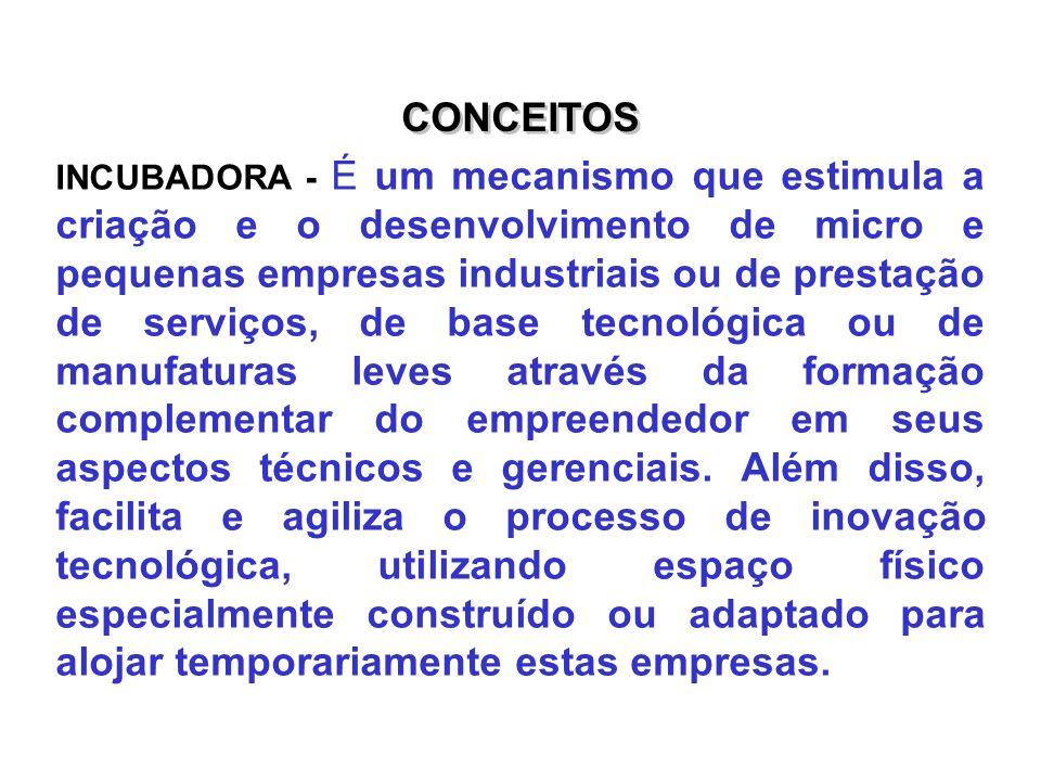 CONCEITOS INCUBADORA - É um mecanismo que estimula a criação e o desenvolvimento de micro e pequenas empresas industriais ou de prestação de serviços,