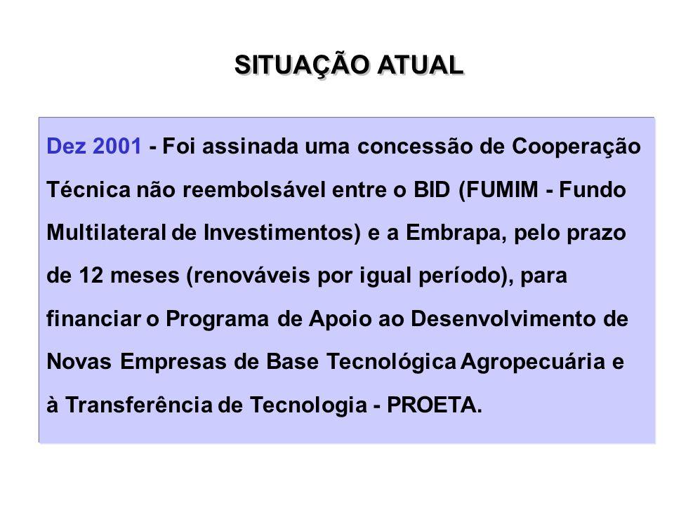 Dez 2001 - Foi assinada uma concessão de Cooperação Técnica não reembolsável entre o BID (FUMIM - Fundo Multilateral de Investimentos) e a Embrapa, pe