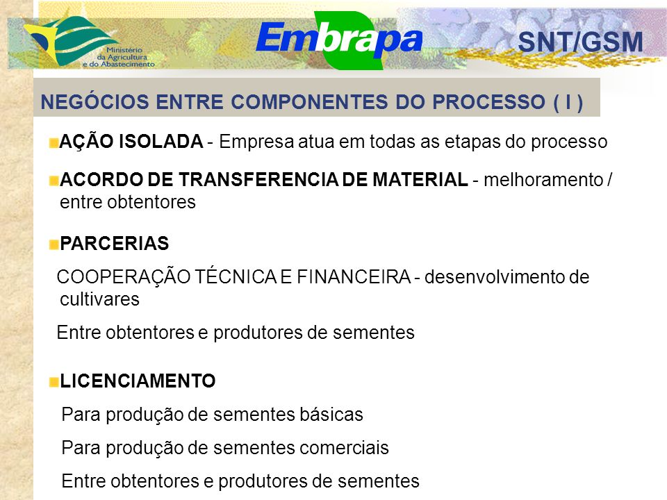 SNT/GSM NEGÓCIOS ENTRE COMPONENTES DO PROCESSO ( l ) AÇÃO ISOLADA - Empresa atua em todas as etapas do processo ACORDO DE TRANSFERENCIA DE MATERIAL - melhoramento / entre obtentores PARCERIAS COOPERAÇÃO TÉCNICA E FINANCEIRA - desenvolvimento de cultivares Entre obtentores e produtores de sementes LICENCIAMENTO Para produção de sementes básicas Para produção de sementes comerciais Entre obtentores e produtores de sementes