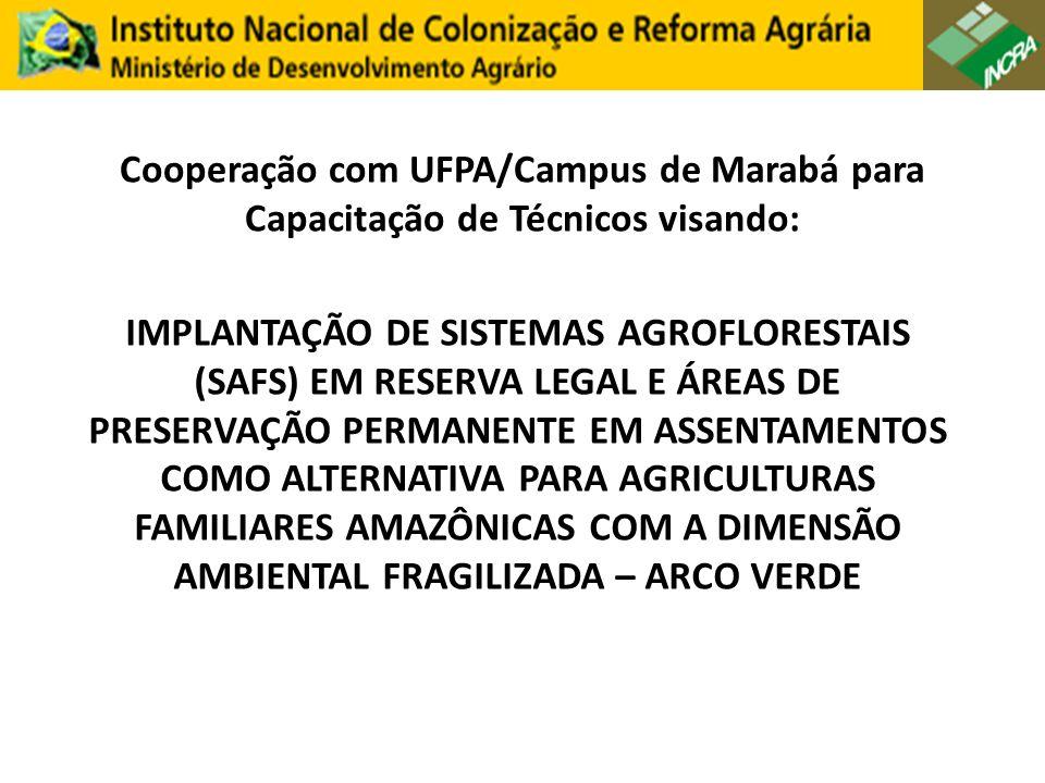 Cooperação com UFPA/Campus de Marabá para Capacitação de Técnicos visando: IMPLANTAÇÃO DE SISTEMAS AGROFLORESTAIS (SAFS) EM RESERVA LEGAL E ÁREAS DE PRESERVAÇÃO PERMANENTE EM ASSENTAMENTOS COMO ALTERNATIVA PARA AGRICULTURAS FAMILIARES AMAZÔNICAS COM A DIMENSÃO AMBIENTAL FRAGILIZADA – ARCO VERDE