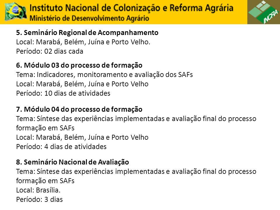 5. Seminário Regional de Acompanhamento Local: Marabá, Belém, Juína e Porto Velho.