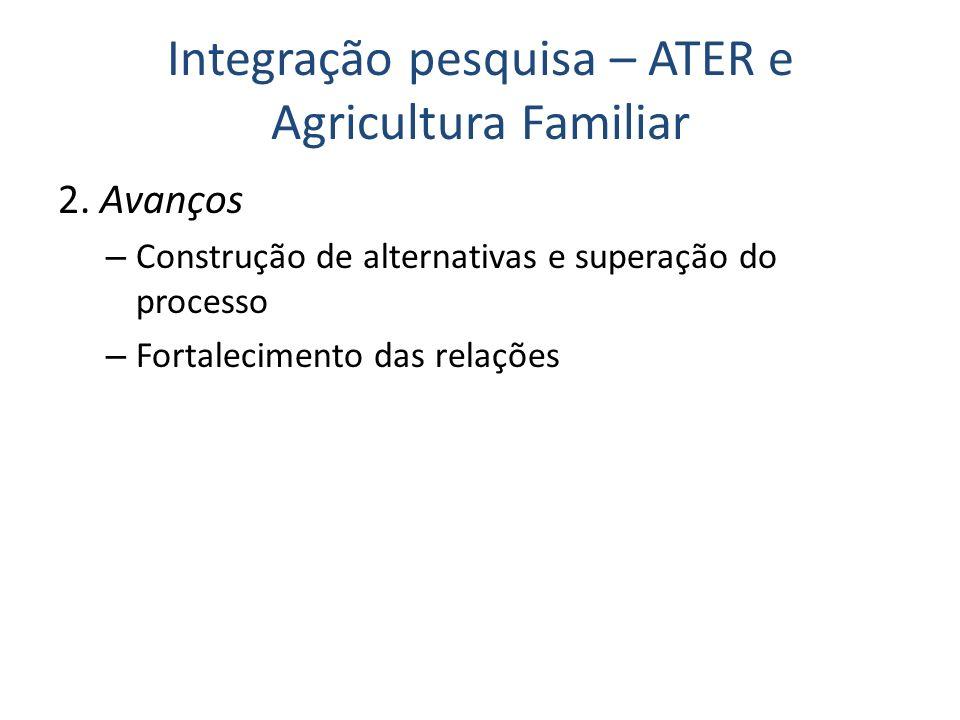 Integração pesquisa – ATER e Agricultura Familiar 2. Avanços – Construção de alternativas e superação do processo – Fortalecimento das relações