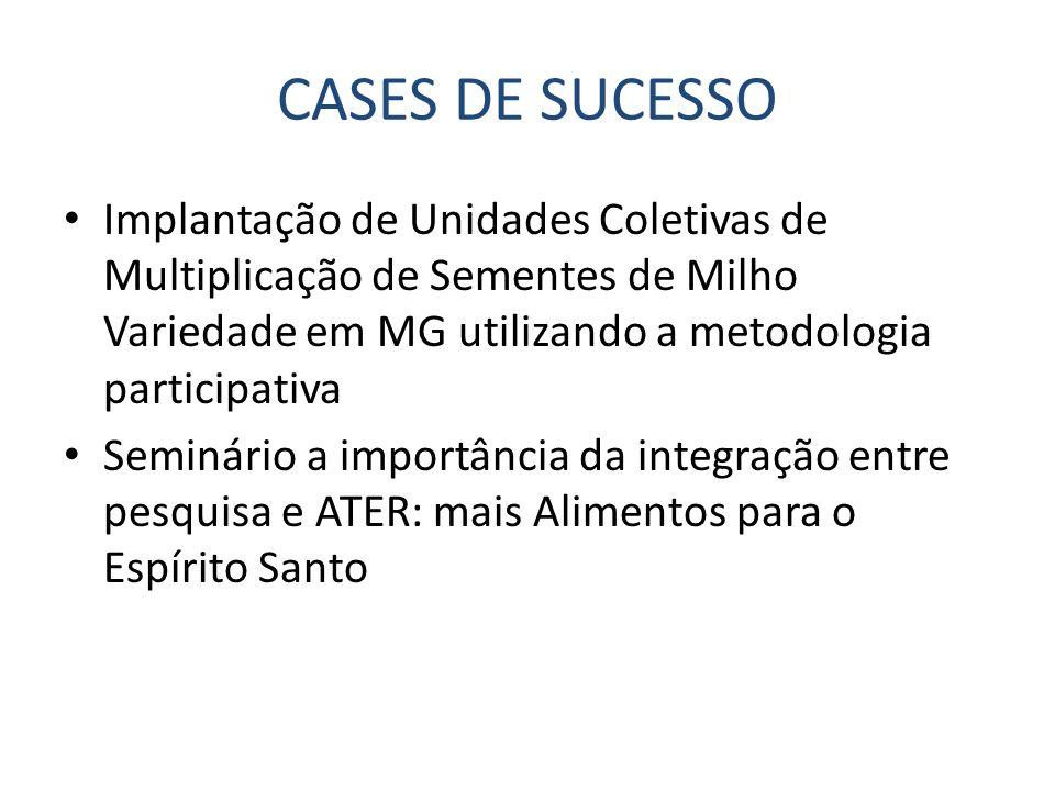 CASES DE SUCESSO Implantação de Unidades Coletivas de Multiplicação de Sementes de Milho Variedade em MG utilizando a metodologia participativa Seminá