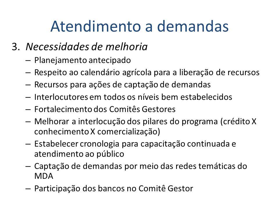 Atendimento a demandas 3. Necessidades de melhoria – Planejamento antecipado – Respeito ao calendário agrícola para a liberação de recursos – Recursos