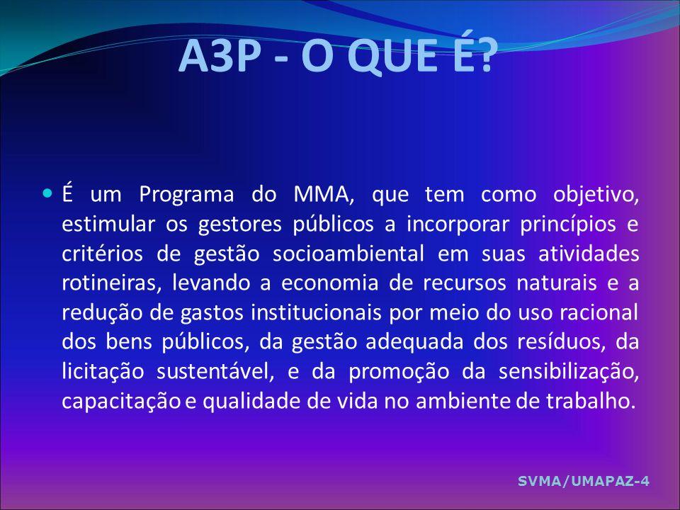 A3P - O QUE É? É um Programa do MMA, que tem como objetivo, estimular os gestores públicos a incorporar princípios e critérios de gestão socioambienta