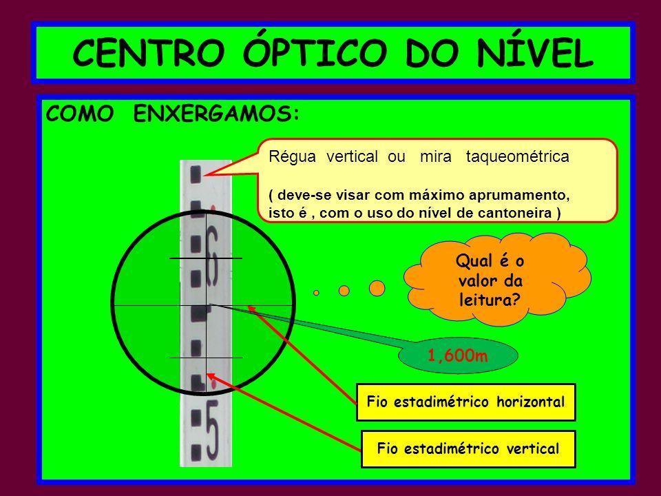CENTRO ÓPTICO DO NÍVEL COMO ENXERGAMOS: Régua vertical ou mira taqueométrica ( deve-se visar com máximo aprumamento, isto é, com o uso do nível de cantoneira ) Qual é o valor da leitura.