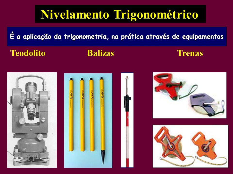 Nivelamento Trigonométrico TeodolitoBalizasTrenas É a aplicação da trigonometria, na prática através de equipamentos