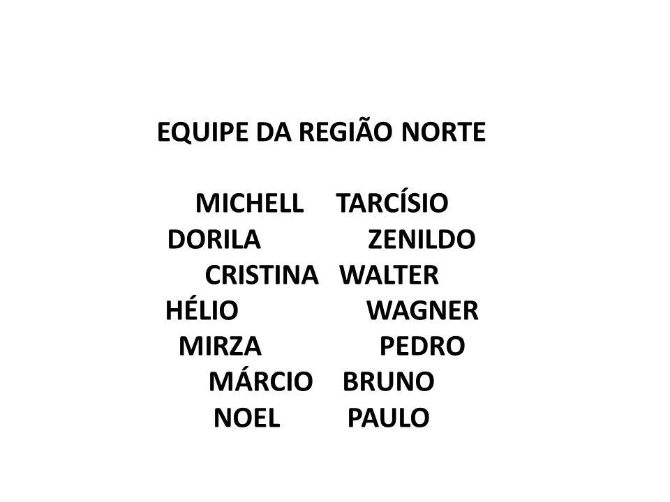 EQUIPE DA REGIÃO NORTE MICHELL TARCÍSIO DORILA ZENILDO CRISTINA WALTER HÉLIO WAGNER MIRZA PEDRO MÁRCIO BRUNO NOELPAULO