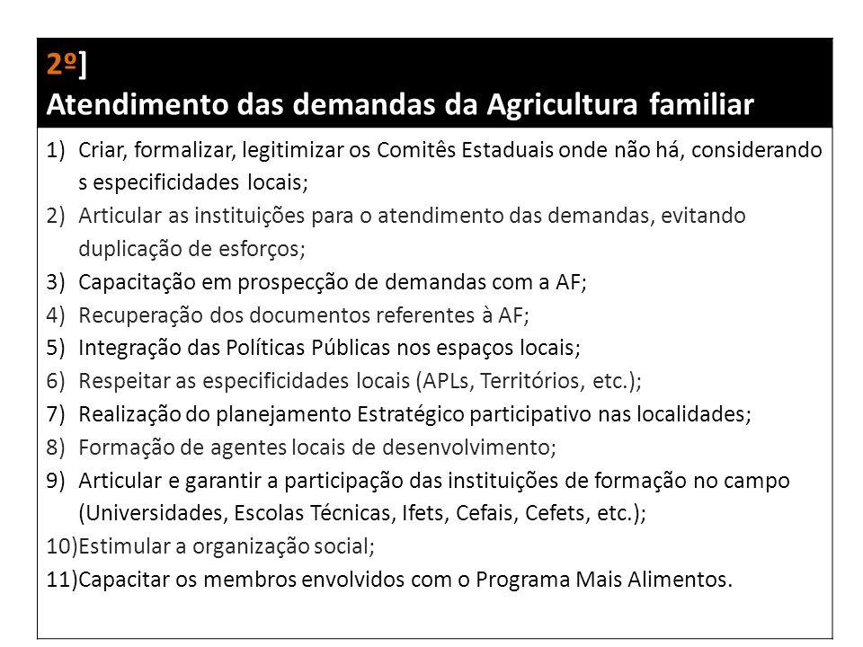 2º] Atendimento das demandas da Agricultura familiar 1)Criar, formalizar, legitimizar os Comitês Estaduais onde não há, considerando s especificidades locais; 2)Articular as instituições para o atendimento das demandas, evitando duplicação de esforços; 3)Capacitação em prospecção de demandas com a AF; 4)Recuperação dos documentos referentes à AF; 5)Integração das Políticas Públicas nos espaços locais; 6)Respeitar as especificidades locais (APLs, Territórios, etc.); 7)Realização do planejamento Estratégico participativo nas localidades; 8)Formação de agentes locais de desenvolvimento; 9)Articular e garantir a participação das instituições de formação no campo (Universidades, Escolas Técnicas, Ifets, Cefais, Cefets, etc.); 10)Estimular a organização social; 11)Capacitar os membros envolvidos com o Programa Mais Alimentos.