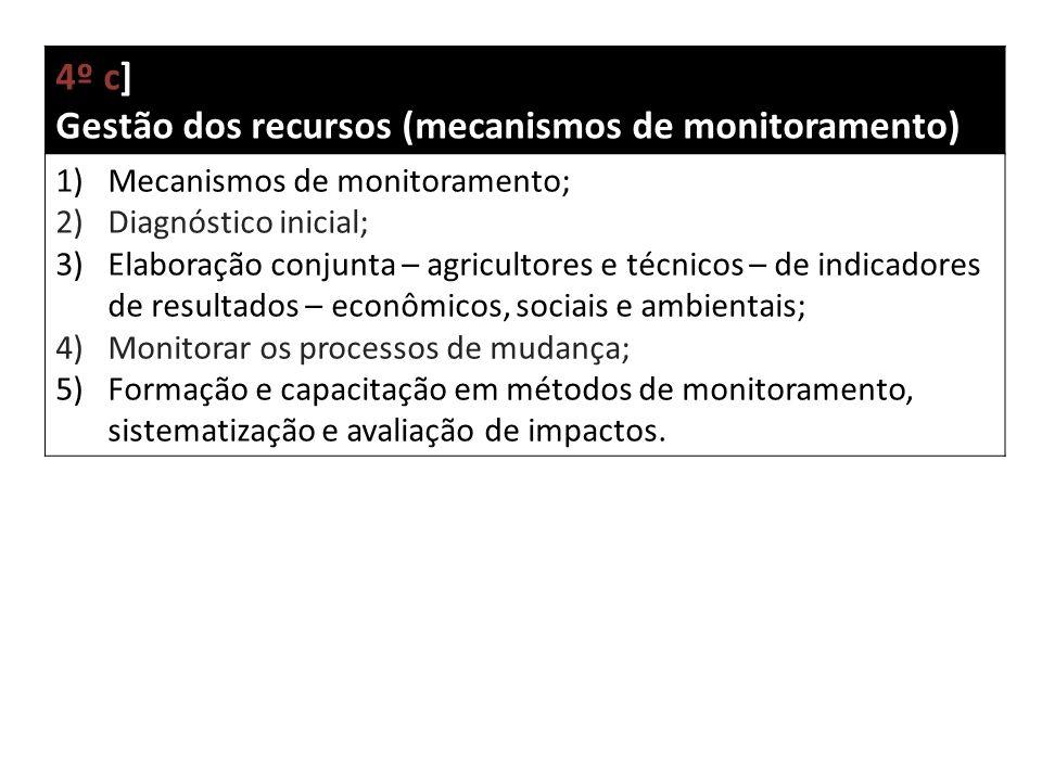 4º c] Gestão dos recursos (mecanismos de monitoramento) 1)Mecanismos de monitoramento; 2)Diagnóstico inicial; 3)Elaboração conjunta – agricultores e técnicos – de indicadores de resultados – econômicos, sociais e ambientais; 4)Monitorar os processos de mudança; 5)Formação e capacitação em métodos de monitoramento, sistematização e avaliação de impactos.