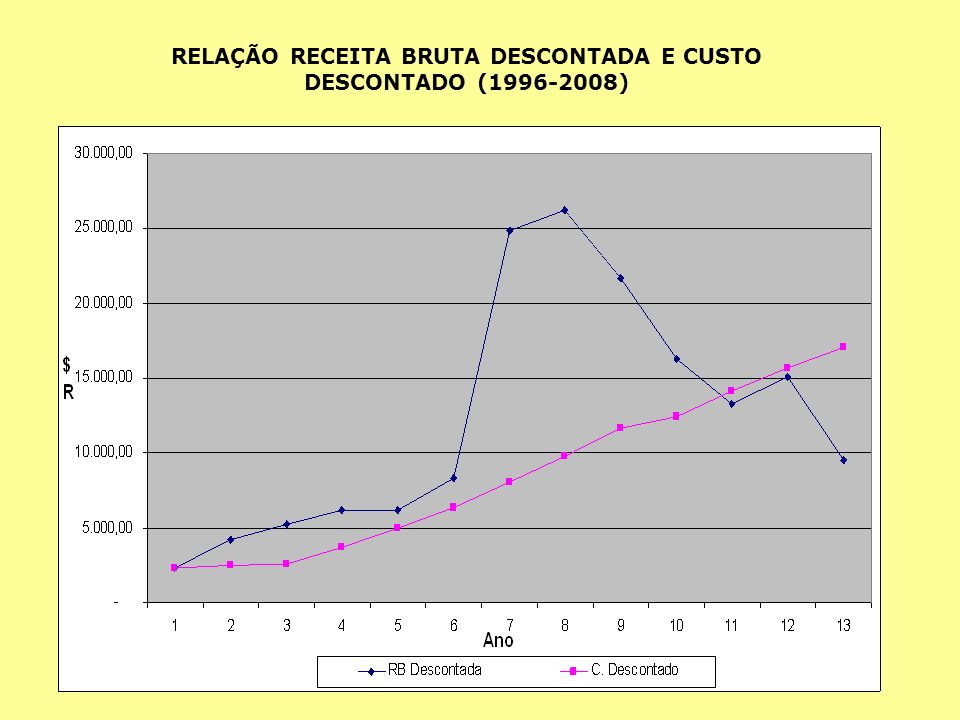 RELAÇÃO RECEITA BRUTA DESCONTADA E CUSTO DESCONTADO (1996-2008)