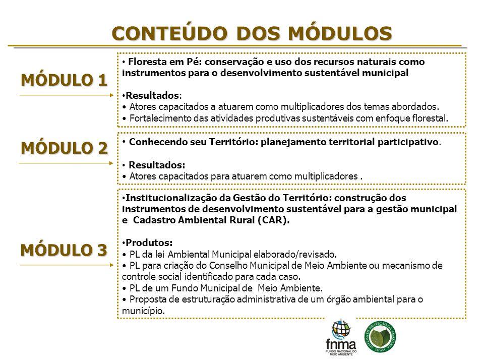 CONTEÚDO DOS MÓDULOS MÓDULO 1 Floresta em Pé: conservação e uso dos recursos naturais como instrumentos para o desenvolvimento sustentável municipal R