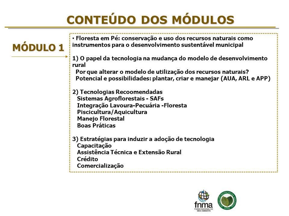CONTEÚDO DOS MÓDULOS MÓDULO 1 Floresta em Pé: conservação e uso dos recursos naturais como instrumentos para o desenvolvimento sustentável municipal 1