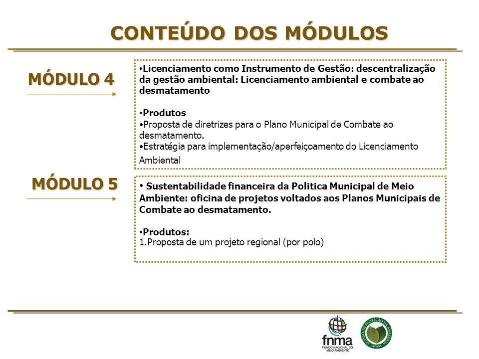 CONTEÚDO DOS MÓDULOS MÓDULO 4 Licenciamento como Instrumento de Gestão: descentralização da gestão ambiental: Licenciamento ambiental e combate ao des