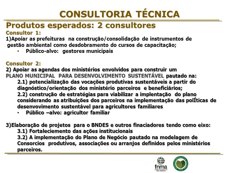 CONSULTORIA TÉCNICA Produtos esperados: 2 consultores Consultor 1: 1)Apoiar as prefeituras na construção/consolidação de instrumentos de gestão ambien