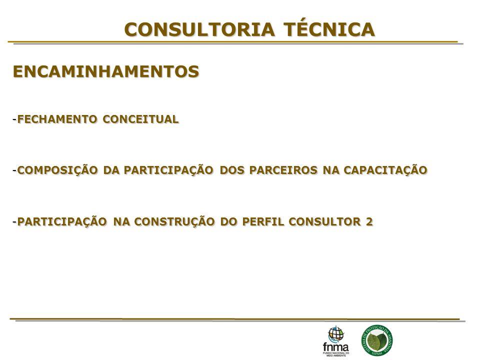 CONSULTORIA TÉCNICA ENCAMINHAMENTOS -FECHAMENTO CONCEITUAL -COMPOSIÇÃO DA PARTICIPAÇÃO DOS PARCEIROS NA CAPACITAÇÃO -PARTICIPAÇÃO NA CONSTRUÇÃO DO PER