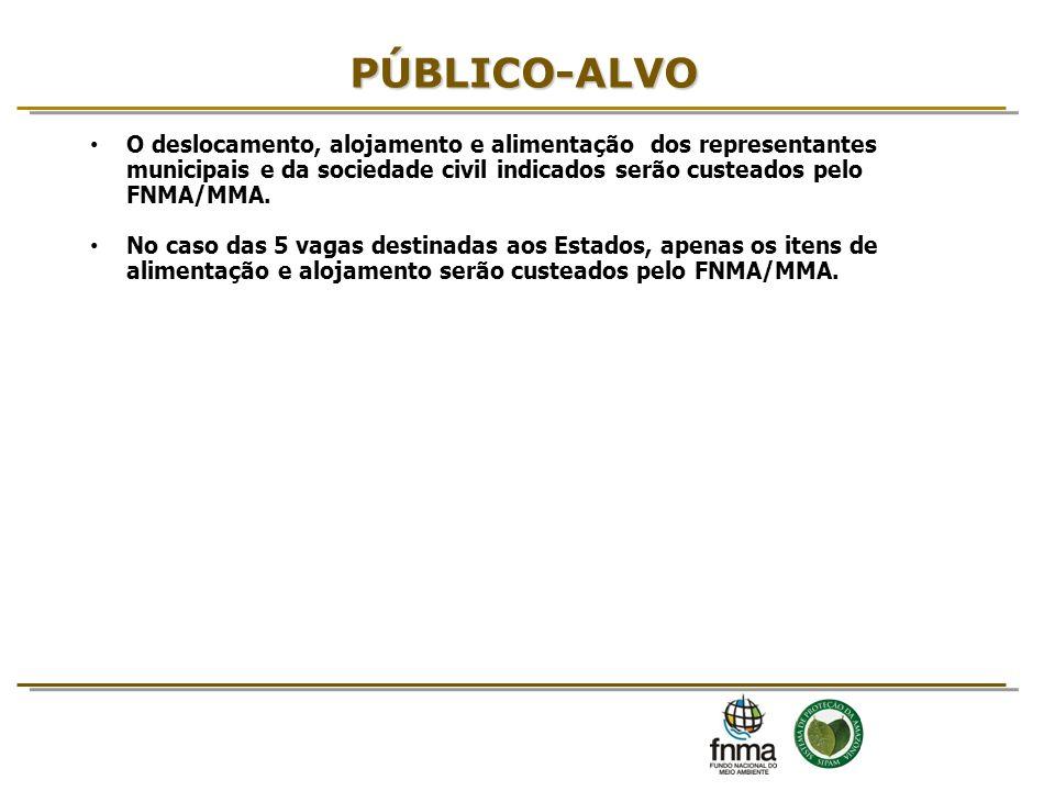 O deslocamento, alojamento e alimentação dos representantes municipais e da sociedade civil indicados serão custeados pelo FNMA/MMA. No caso das 5 vag