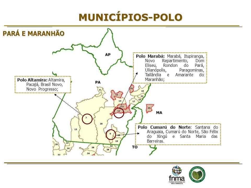 MUNICÍPIOS-POLO Polo Cumarú do Norte: Santana do Araguaia, Cumarú do Norte, São Félix do Xingú e Santa Maria das Barreiras. Polo Altamira: Altamira, P
