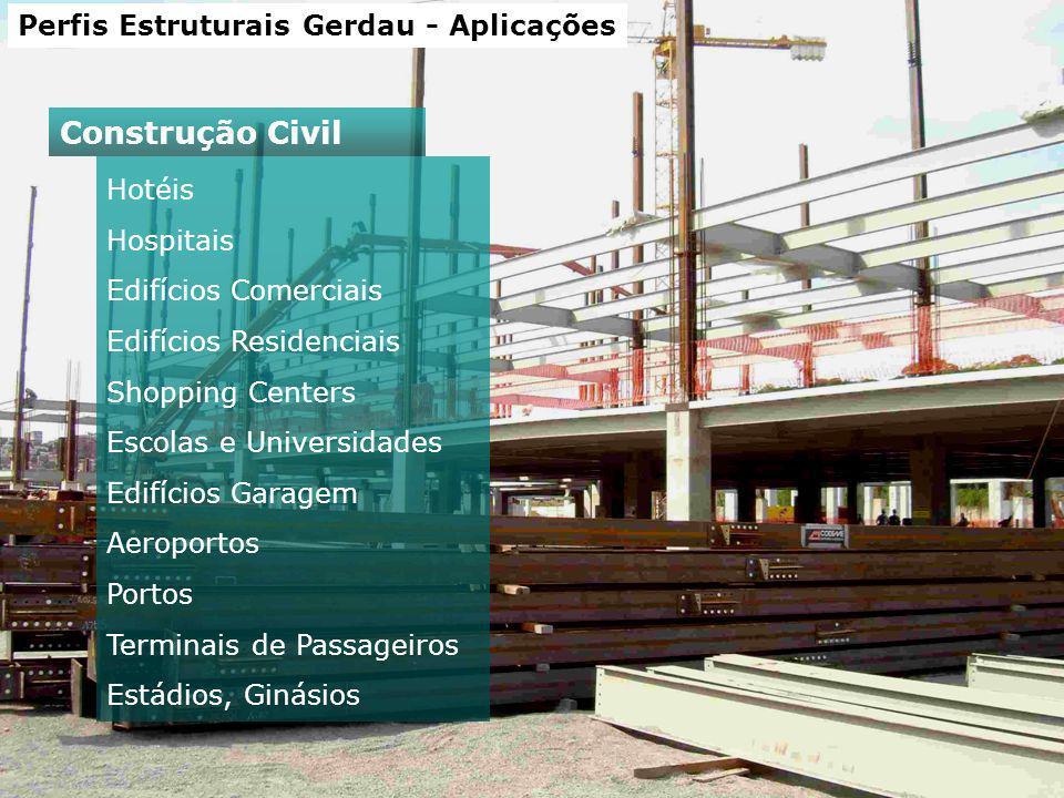 Perfis Estruturais Gerdau - Aplicações Hotéis Hospitais Edifícios Comerciais Edifícios Residenciais Shopping Centers Escolas e Universidades Edifícios