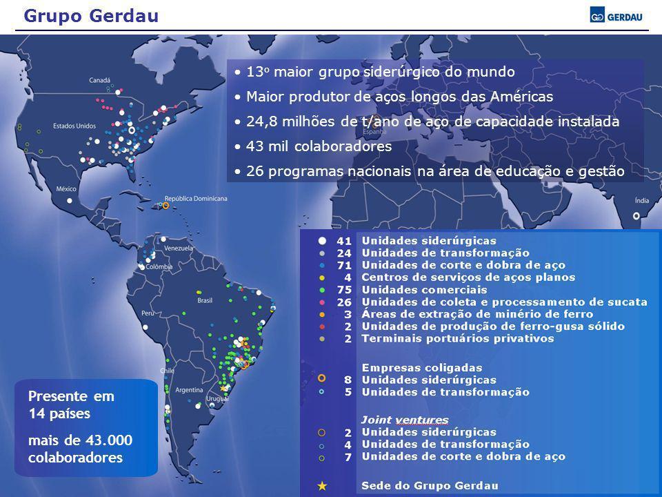 Presente em 14 países mais de 43.000 colaboradores Grupo Gerdau 13 o maior grupo siderúrgico do mundo Maior produtor de aços longos das Américas 24,8