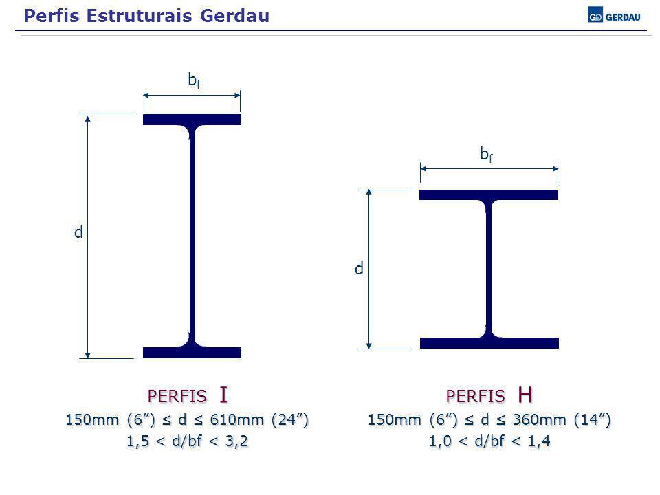 d bfbf d bfbf PERFIS I 150mm (6) d 610mm (24) 1,5 < d/bf < 3,2 PERFIS H 150mm (6) d 360mm (14) 1,0 < d/bf < 1,4 Perfis Estruturais Gerdau