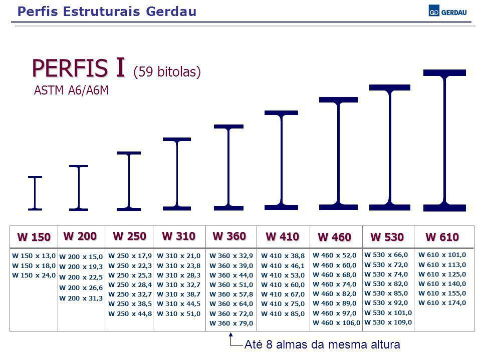 PERFIS I PERFIS I (59 bitolas) ASTM A6/A6M W 150 W 200 W 250 W 310 W 360 W 410 W 460 W 530 W 610 W 150 x 13,0 W 150 x 18,0 W 150 x 24,0 W 200 x 15,0 W