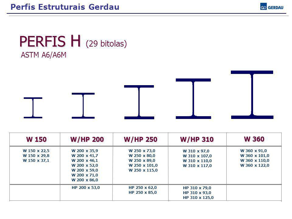 PERFIS H PERFIS H (29 bitolas) ASTM A6/A6M W 150 W 150 x 22,5 W 150 x 29,8 W 150 x 37,1 W 200 x 35,9 W 200 x 41,7 W 200 x 46,1 W 200 x 52,0 W 200 x 59