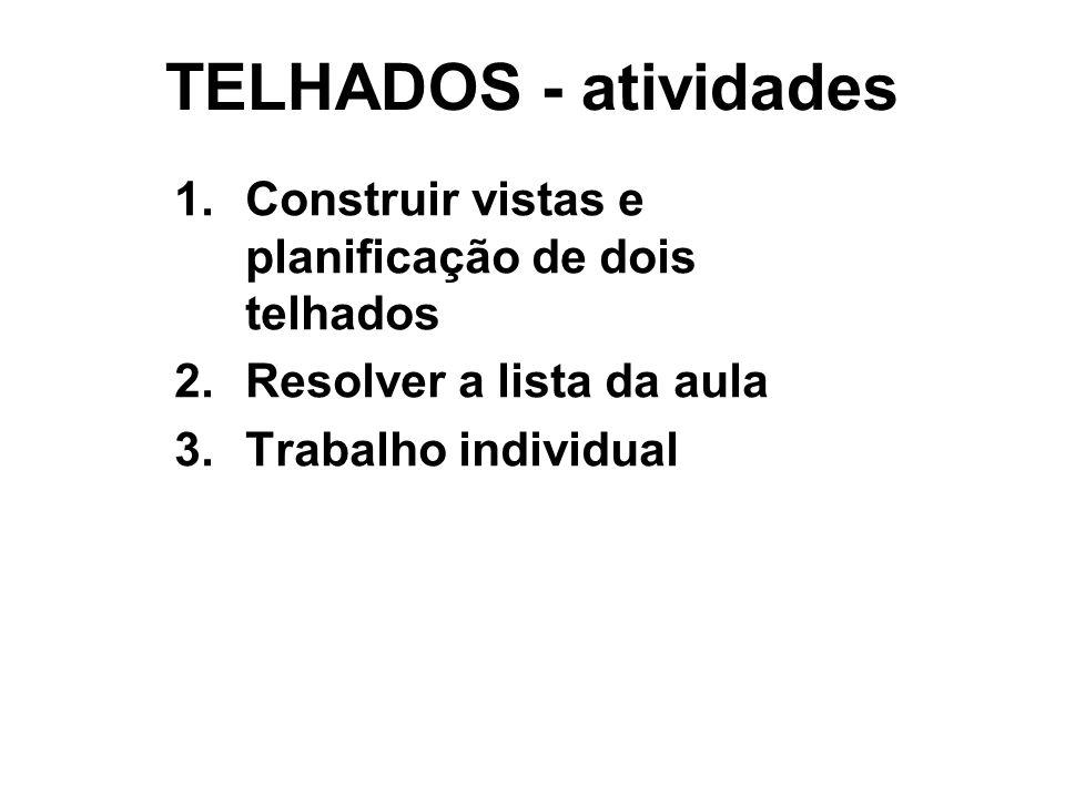 TELHADOS - atividades 1.Construir vistas e planificação de dois telhados 2.Resolver a lista da aula 3.Trabalho individual