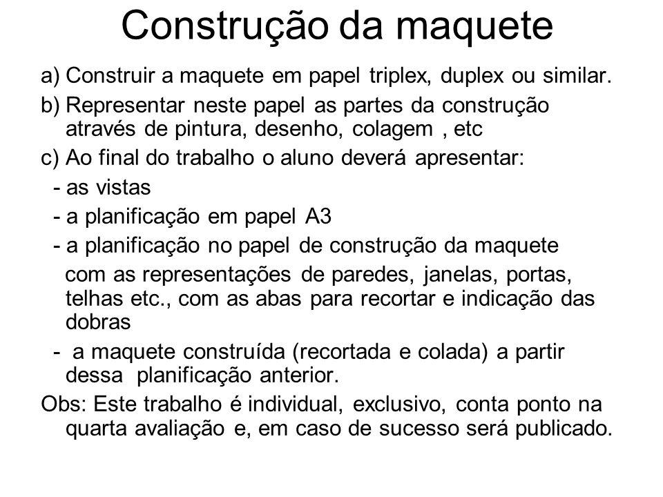 Construção da maquete a)Construir a maquete em papel triplex, duplex ou similar. b)Representar neste papel as partes da construção através de pintura,