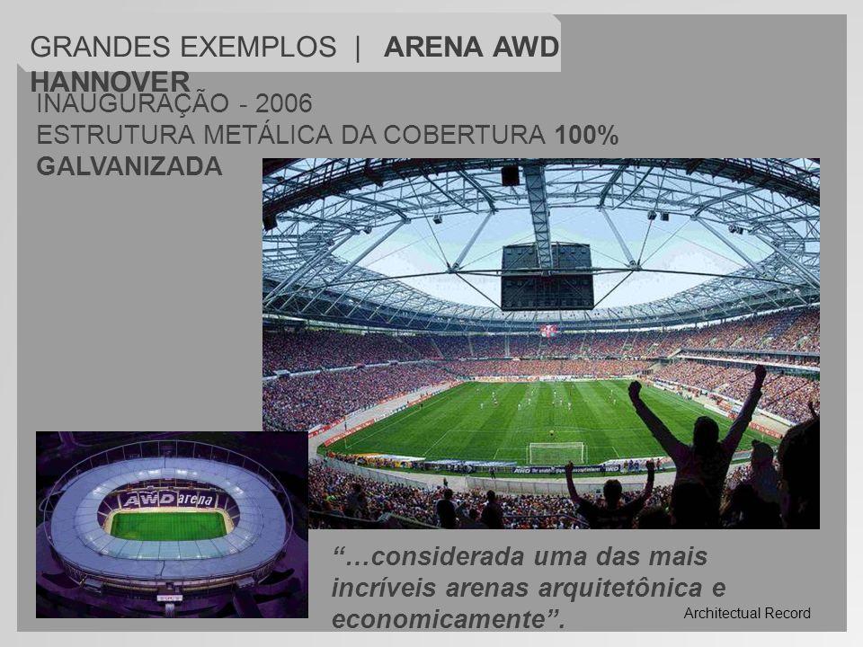 INAUGURAÇÃO - 2006 ESTRUTURA METÁLICA DA COBERTURA 100% GALVANIZADA GRANDES EXEMPLOS | ARENA AWD HANNOVER …considerada uma das mais incríveis arenas a