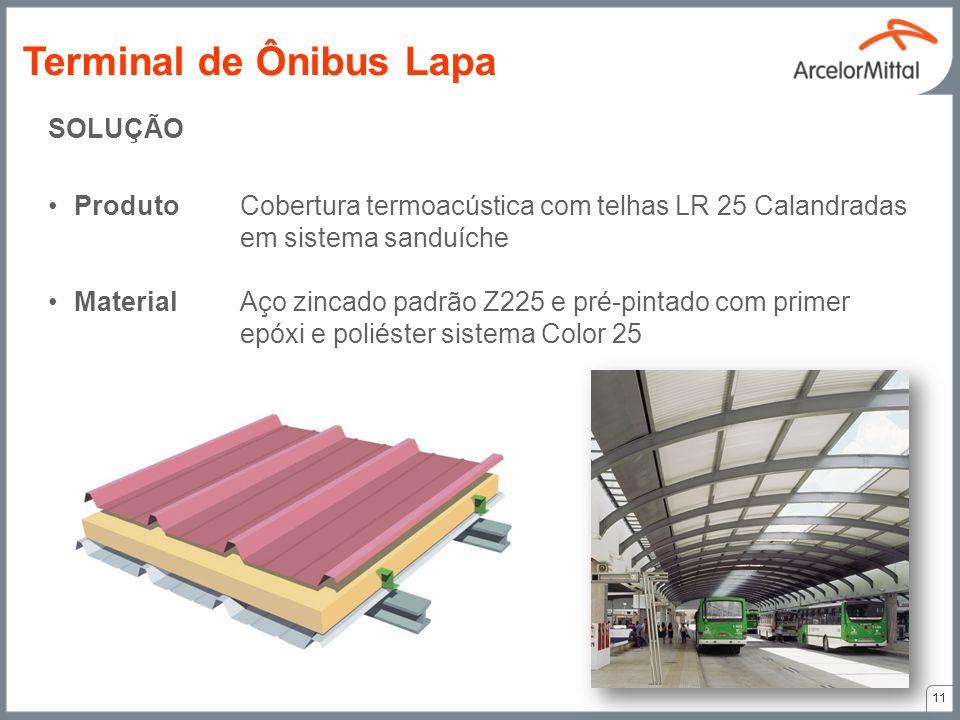 SOLUÇÃO ProdutoCobertura termoacústica com telhas LR 25 Calandradas em sistema sanduíche MaterialAço zincado padrão Z225 e pré-pintado com primer epóx