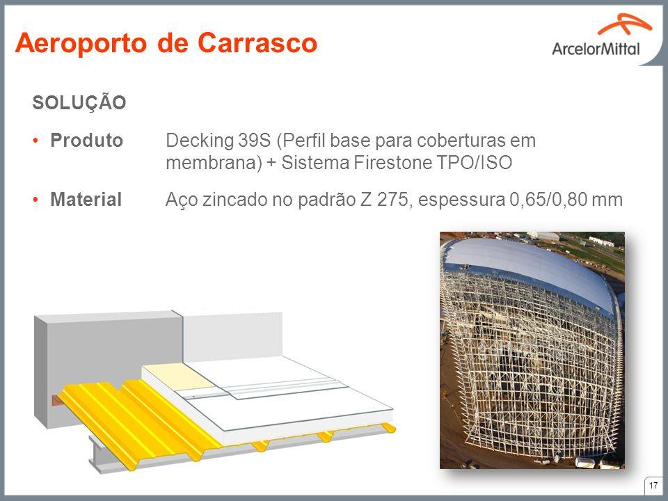 SOLUÇÃO ProdutoDecking 39S (Perfil base para coberturas em membrana) + Sistema Firestone TPO/ISO MaterialAço zincado no padrão Z 275, espessura 0,65/0